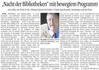 Münsterländische Volkszeitung, 21.02.2015, Autor: Klaus Direkes